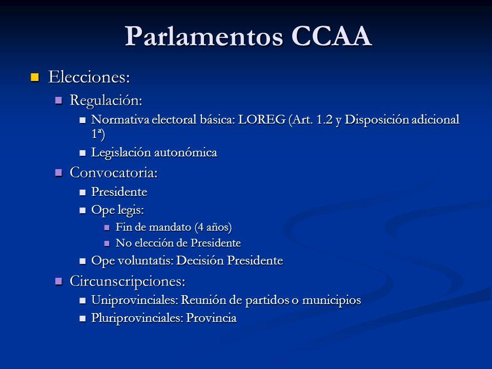Parlamentos CCAA Elecciones: Regulación: Convocatoria:
