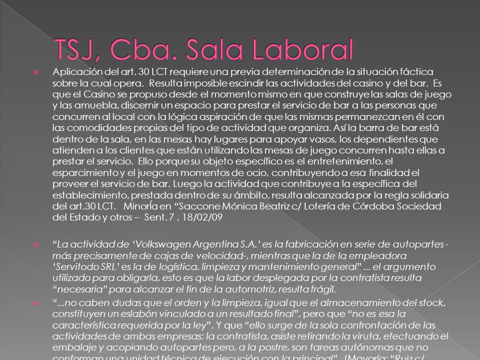 TSJ, Cba. Sala Laboral