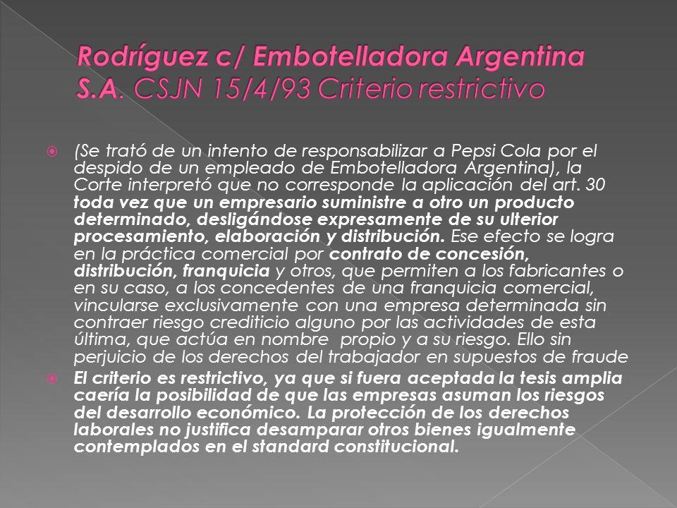 Rodríguez c/ Embotelladora Argentina S. A