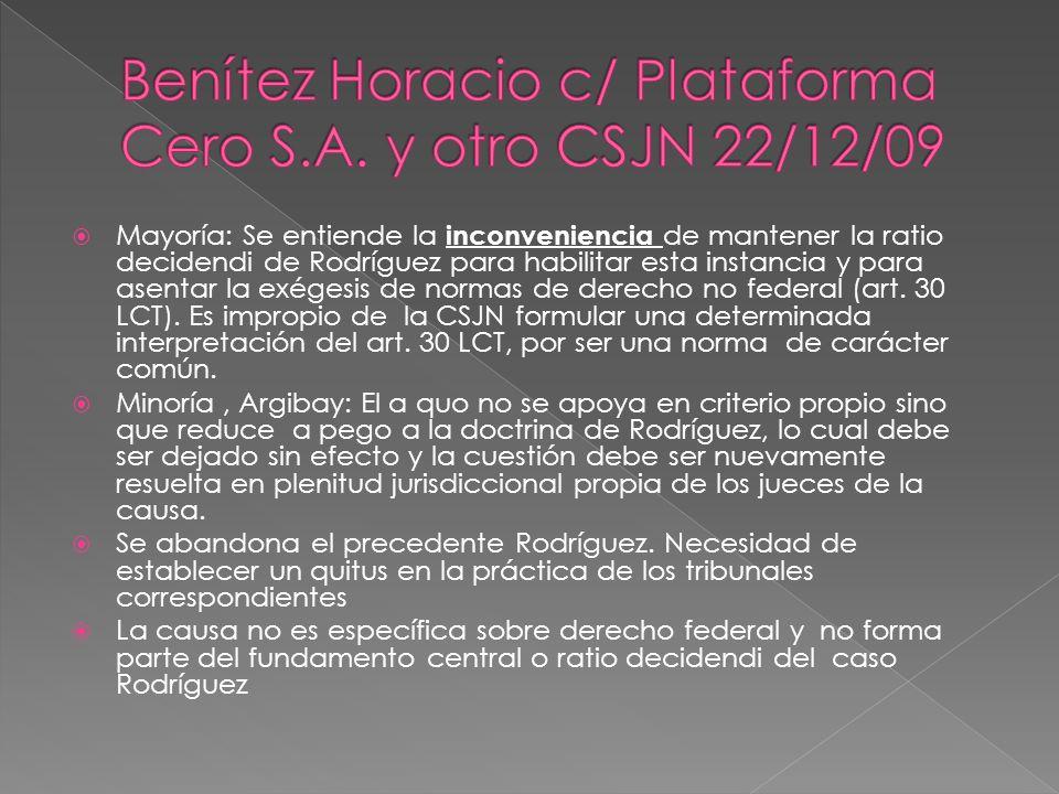 Benítez Horacio c/ Plataforma Cero S.A. y otro CSJN 22/12/09