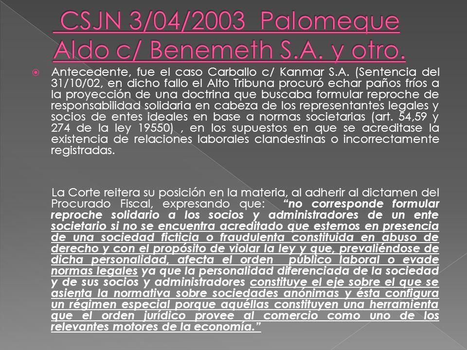 CSJN 3/04/2003 Palomeque Aldo c/ Benemeth S.A. y otro.