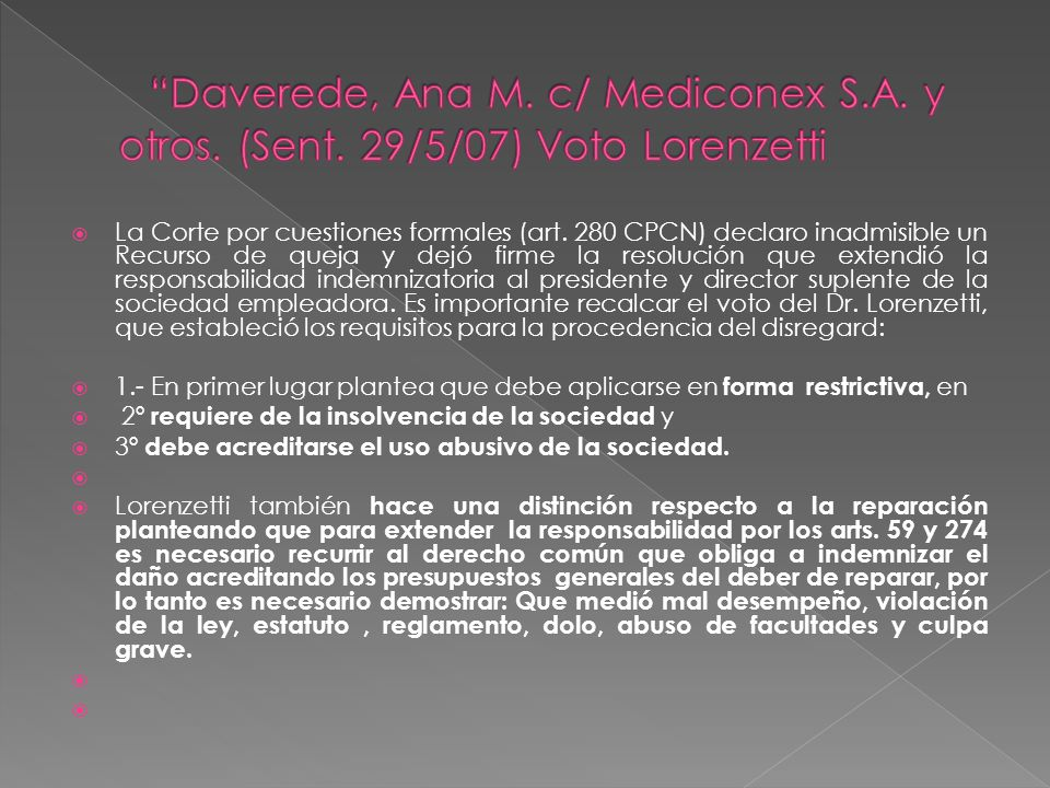 Daverede, Ana M. c/ Mediconex S. A. y otros. (Sent