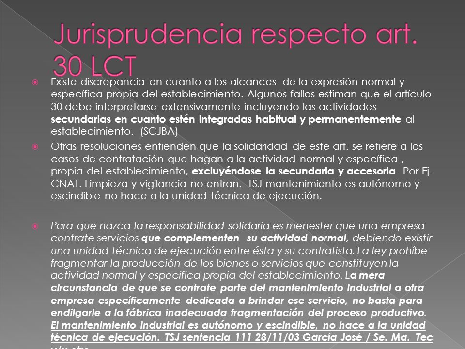 Jurisprudencia respecto art. 30 LCT