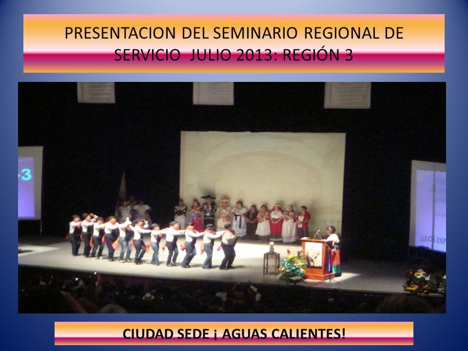 PRESENTACION DEL SEMINARIO REGIONAL DE SERVICIO JULIO 2013: REGIÓN 3