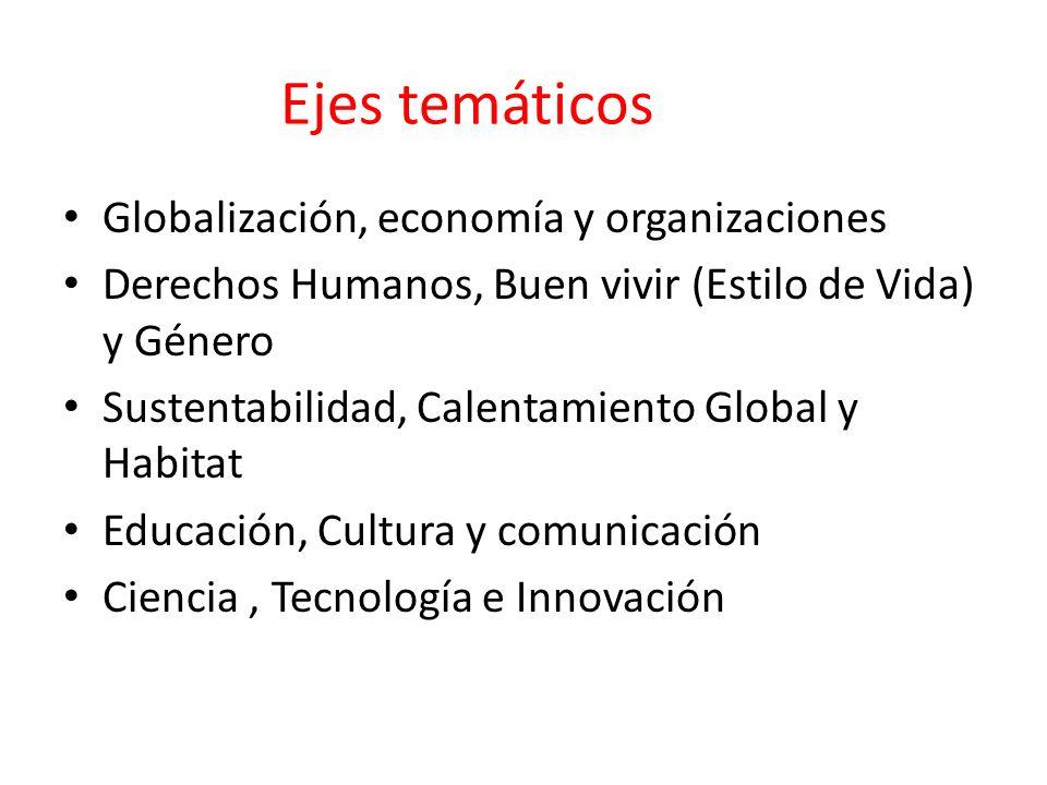 Ejes temáticos Globalización, economía y organizaciones
