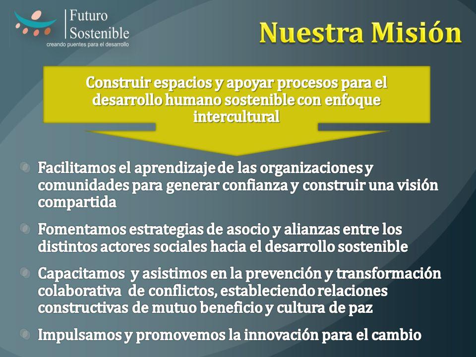 Nuestra Misión Construir espacios y apoyar procesos para el desarrollo humano sostenible con enfoque intercultural.