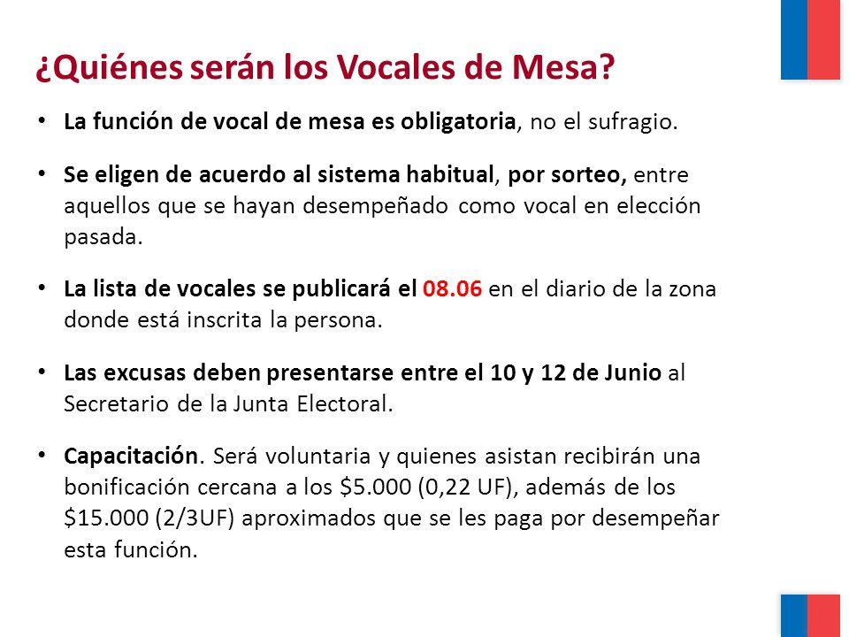 ¿Quiénes serán los Vocales de Mesa