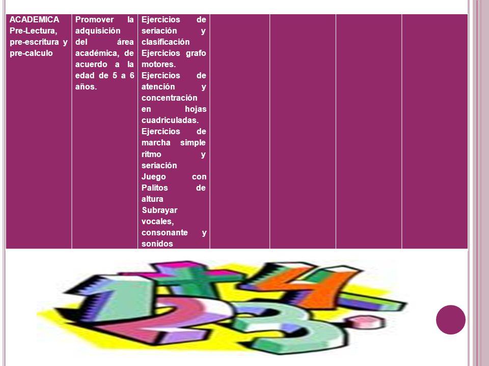 ACADEMICAPre-Lectura, pre-escritura y pre-calculo. Promover la adquisición del área académica, de acuerdo a la edad de 5 a 6 años.