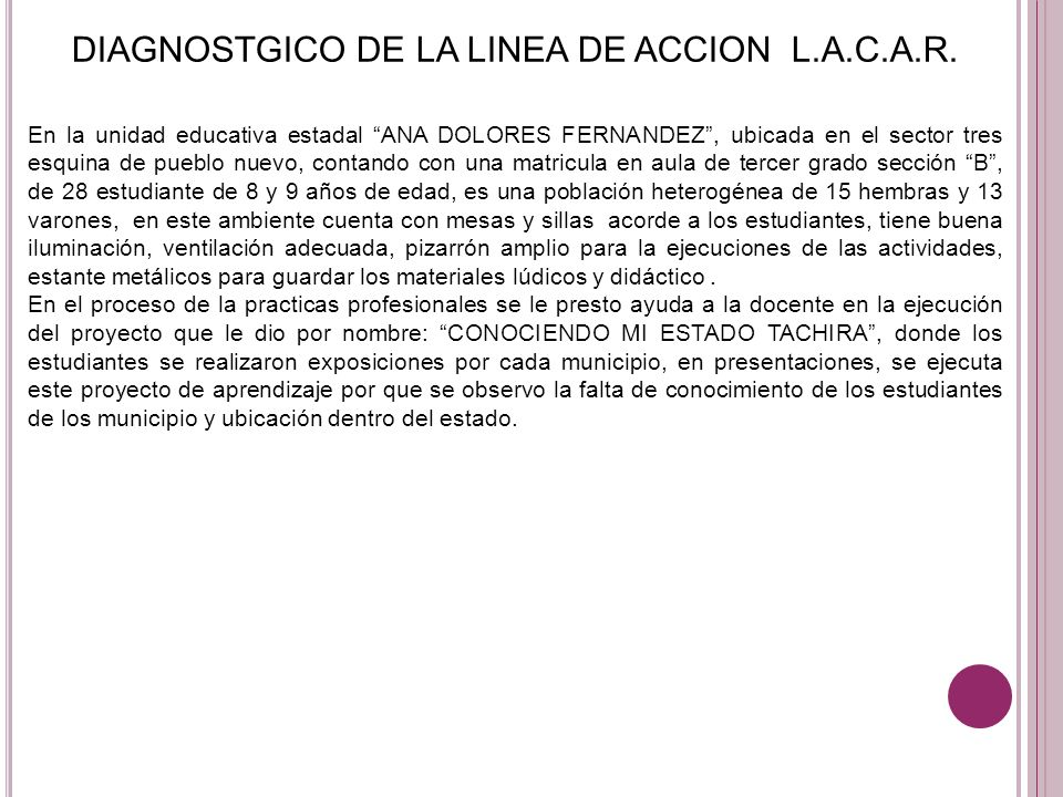 DIAGNOSTGICO DE LA LINEA DE ACCION L.A.C.A.R.