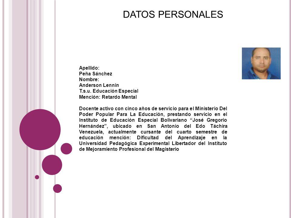 DATOS PERSONALES Apellido: Peña Sánchez Nombre: Anderson Lennin
