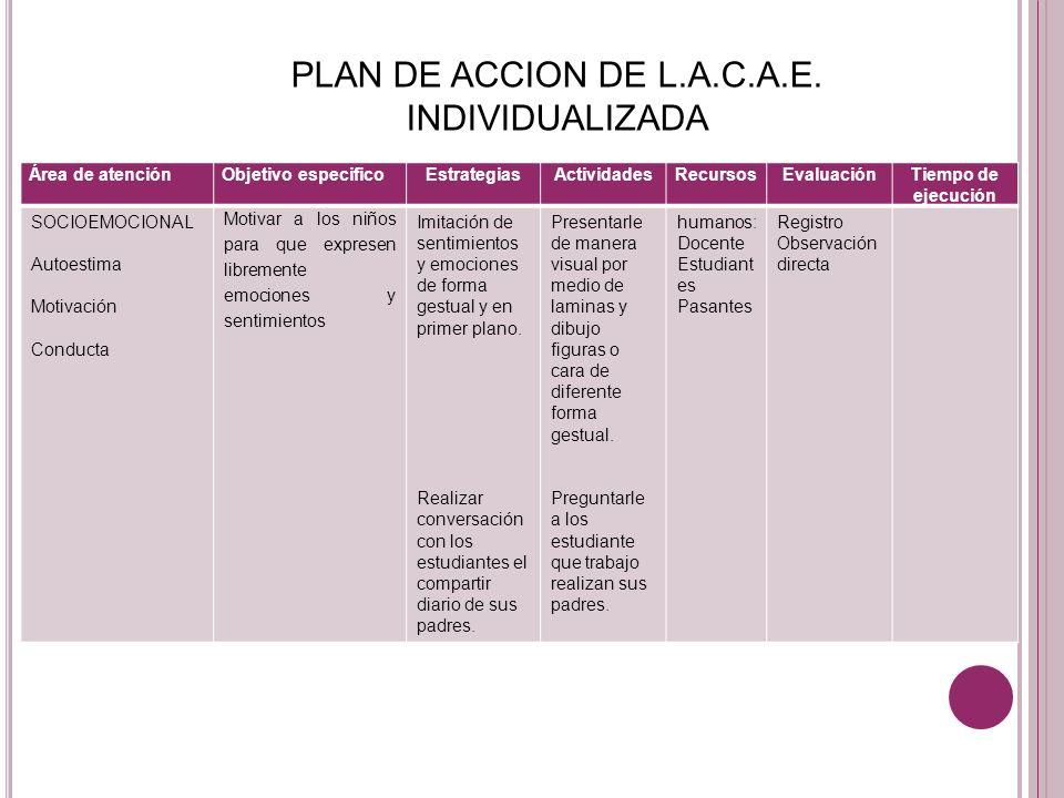 PLAN DE ACCION DE L.A.C.A.E. INDIVIDUALIZADA