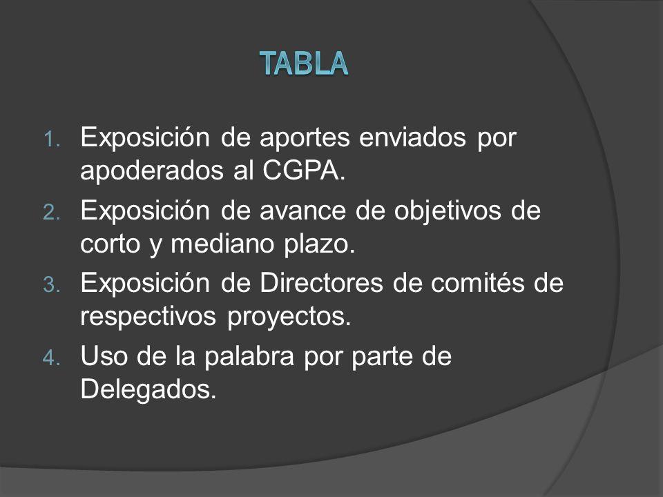 TABLA Exposición de aportes enviados por apoderados al CGPA.