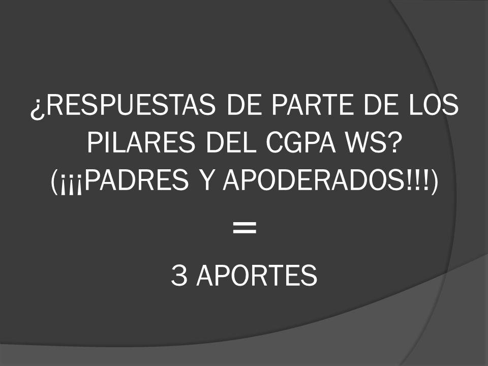 ¿RESPUESTAS DE PARTE DE LOS PILARES DEL CGPA WS