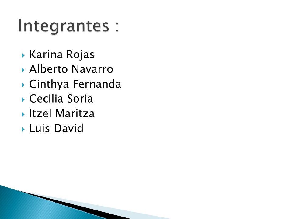 Integrantes : Karina Rojas Alberto Navarro Cinthya Fernanda