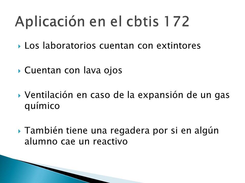 Aplicación en el cbtis 172 Los laboratorios cuentan con extintores