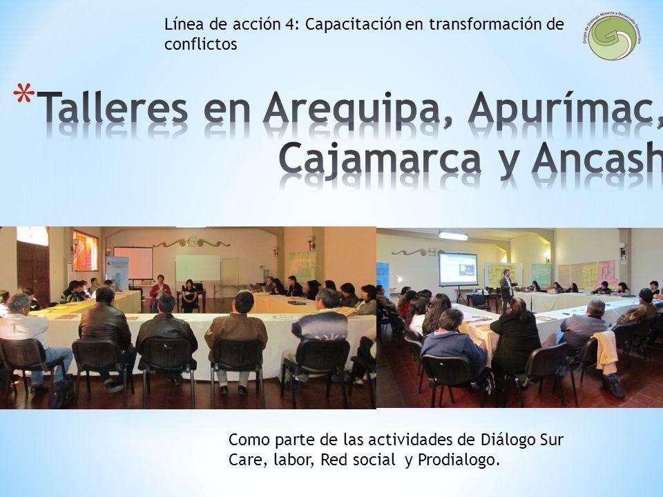 Talleres en Arequipa, Apurímac, Cajamarca y Ancash