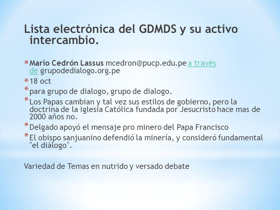 Lista electrónica del GDMDS y su activo intercambio.