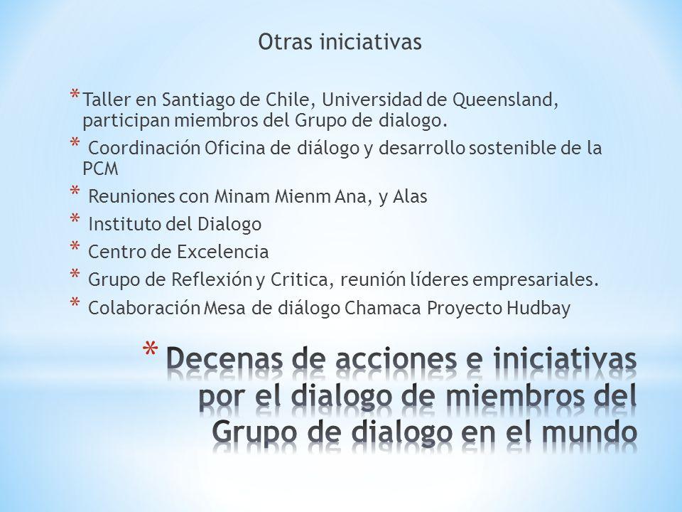 Otras iniciativas Taller en Santiago de Chile, Universidad de Queensland, participan miembros del Grupo de dialogo.