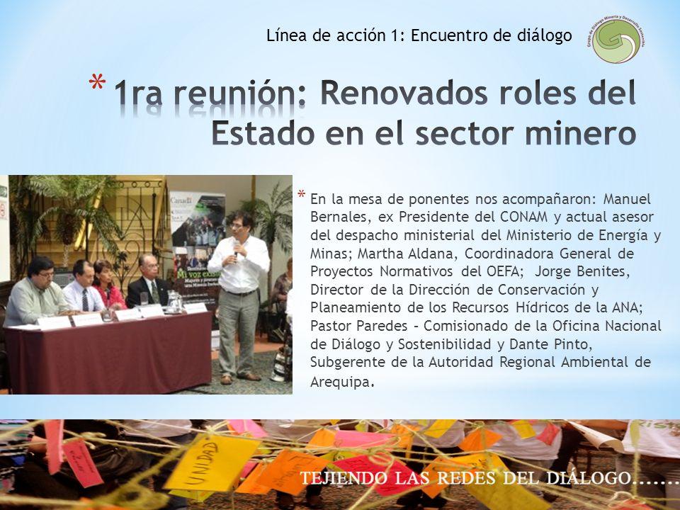 1ra reunión: Renovados roles del Estado en el sector minero