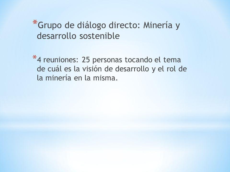 Grupo de diálogo directo: Minería y desarrollo sostenible