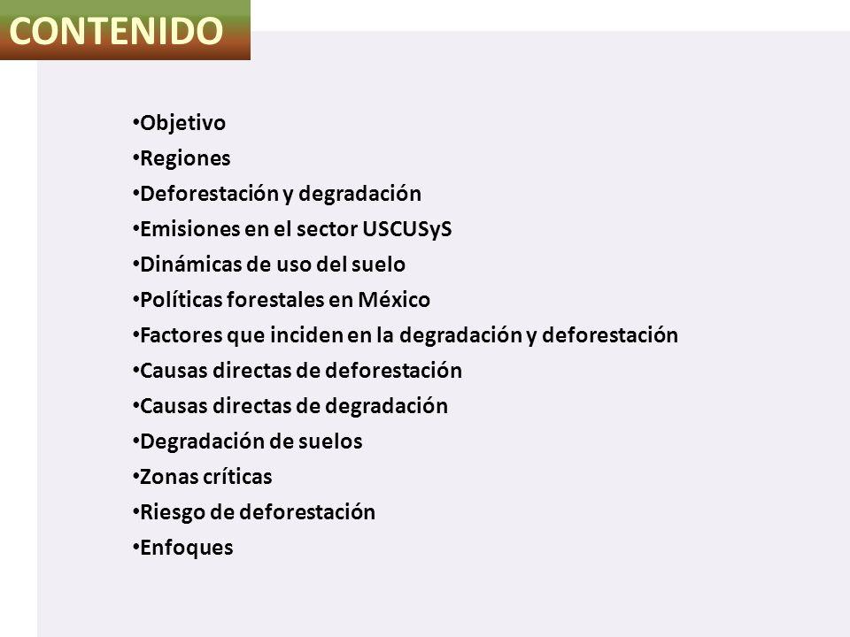 CONTENIDO Objetivo Regiones Deforestación y degradación