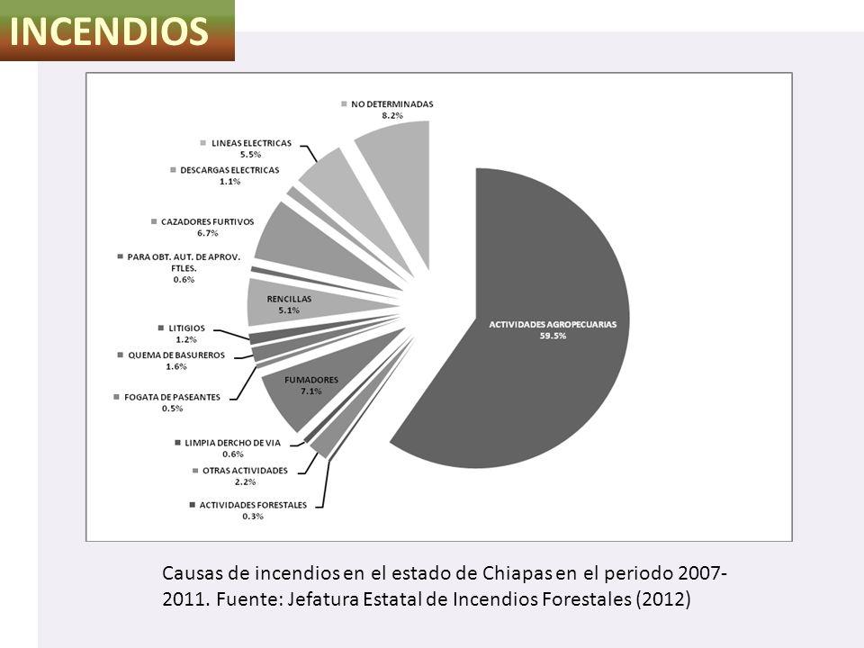 INCENDIOS Causas de incendios en el estado de Chiapas en el periodo 2007-2011.