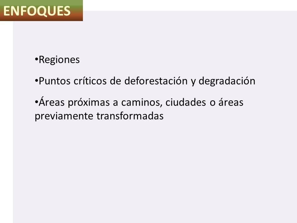 ENFOQUES Regiones Puntos críticos de deforestación y degradación