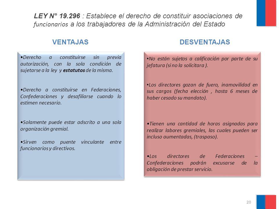 LEY N° 19.296 : Establece el derecho de constituir asociaciones de funcionarios a los trabajadores de la Administración del Estado