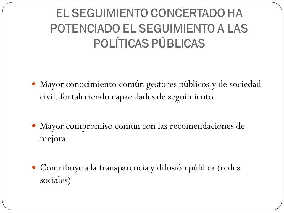 EL SEGUIMIENTO CONCERTADO HA POTENCIADO EL SEGUIMIENTO A LAS POLÍTICAS PÚBLICAS