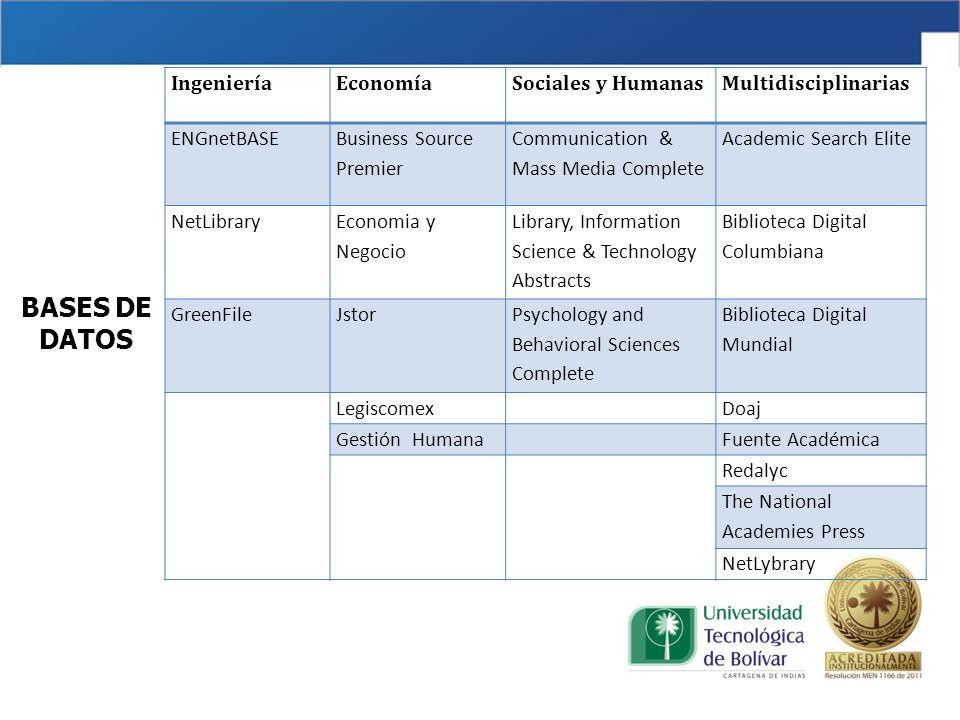 BASES DE DATOS Ingeniería Economía Sociales y Humanas