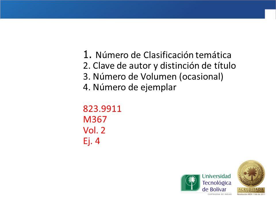 1. Número de Clasificación temática 2