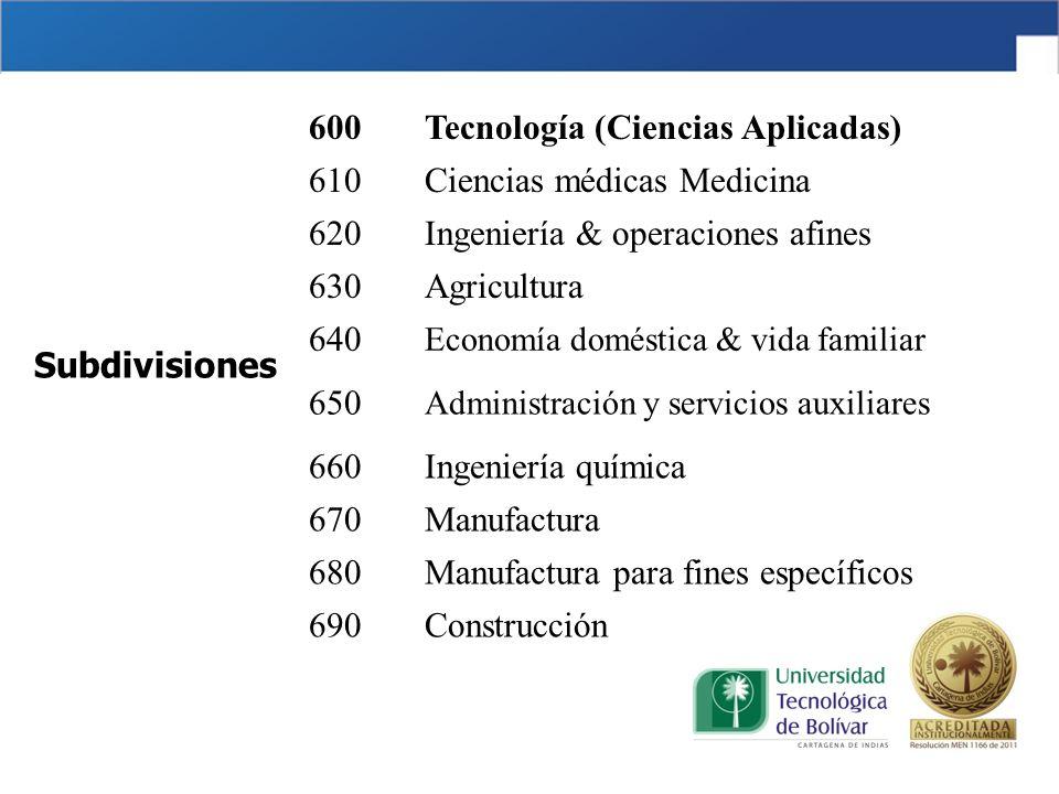 Tecnología (Ciencias Aplicadas) 610 Ciencias médicas Medicina 620