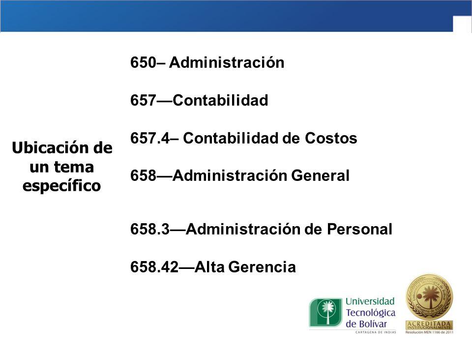 650– Administración 657—Contabilidad 657