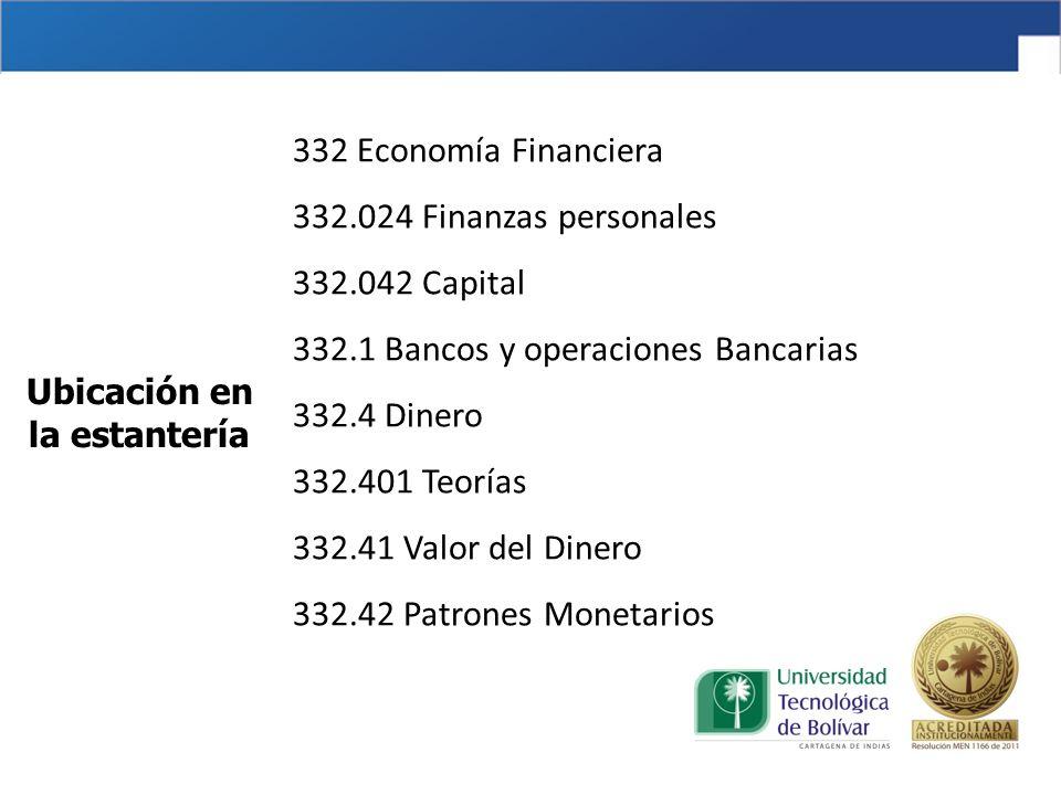 332 Economía Financiera 332. 024 Finanzas personales 332