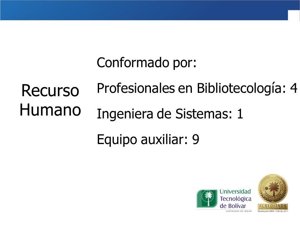 Conformado por: Profesionales en Bibliotecología: 4 Ingeniera de Sistemas: 1 Equipo auxiliar: 9