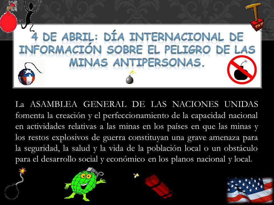 4 DE ABRIL: Día Internacional de Información sobre el Peligro de las Minas antipersonas.
