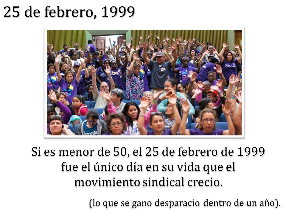 25 de febrero, 1999 Si es menor de 50, el 25 de febrero de 1999 fue el único día en su vida que el movimiento sindical crecio.