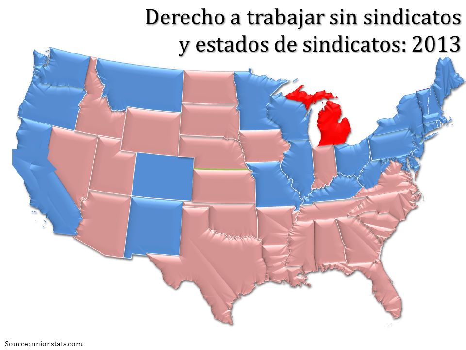 Derecho a trabajar sin sindicatos y estados de sindicatos: 2013