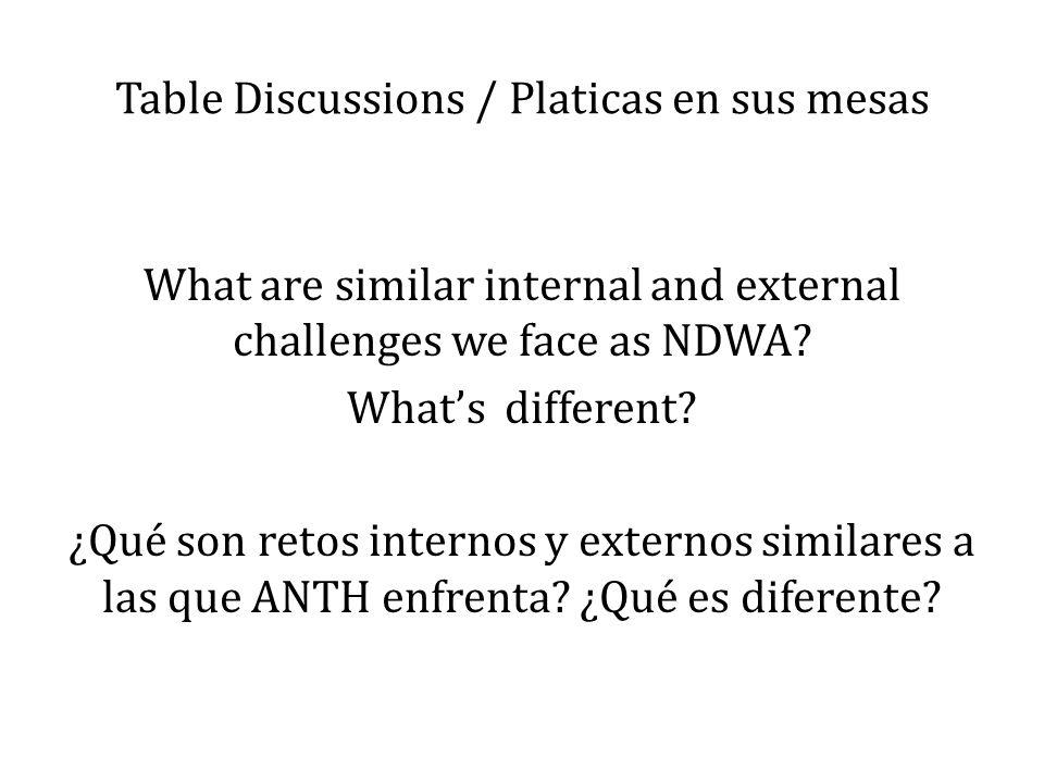 Table Discussions / Platicas en sus mesas
