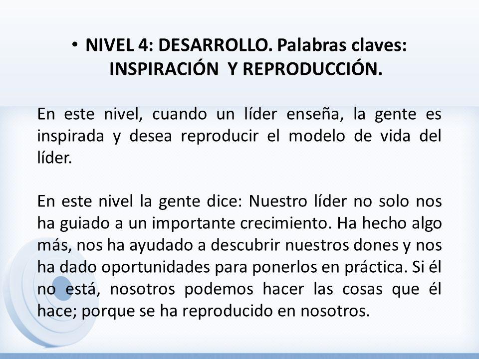 NIVEL 4: DESARROLLO. Palabras claves: INSPIRACIÓN Y REPRODUCCIÓN.