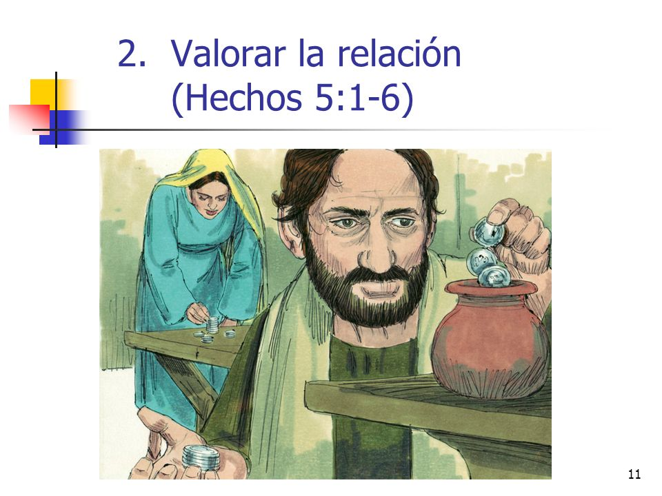 Valorar la relación (Hechos 5:1-6)
