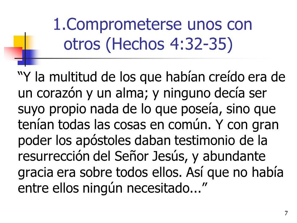 Comprometerse unos con otros (Hechos 4:32-35)