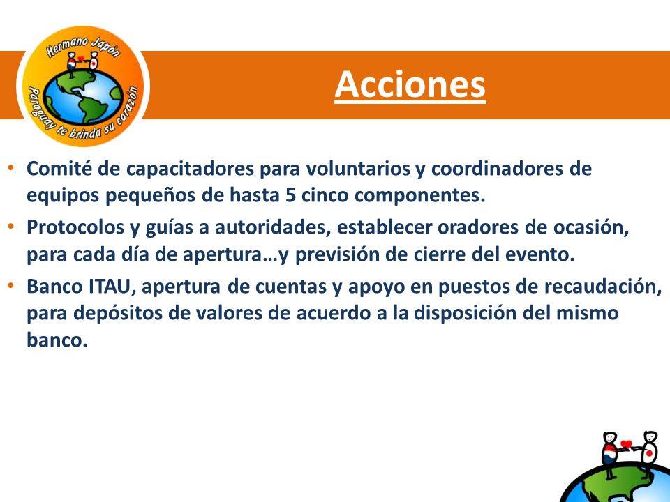 Acciones Comité de capacitadores para voluntarios y coordinadores de equipos pequeños de hasta 5 cinco componentes.
