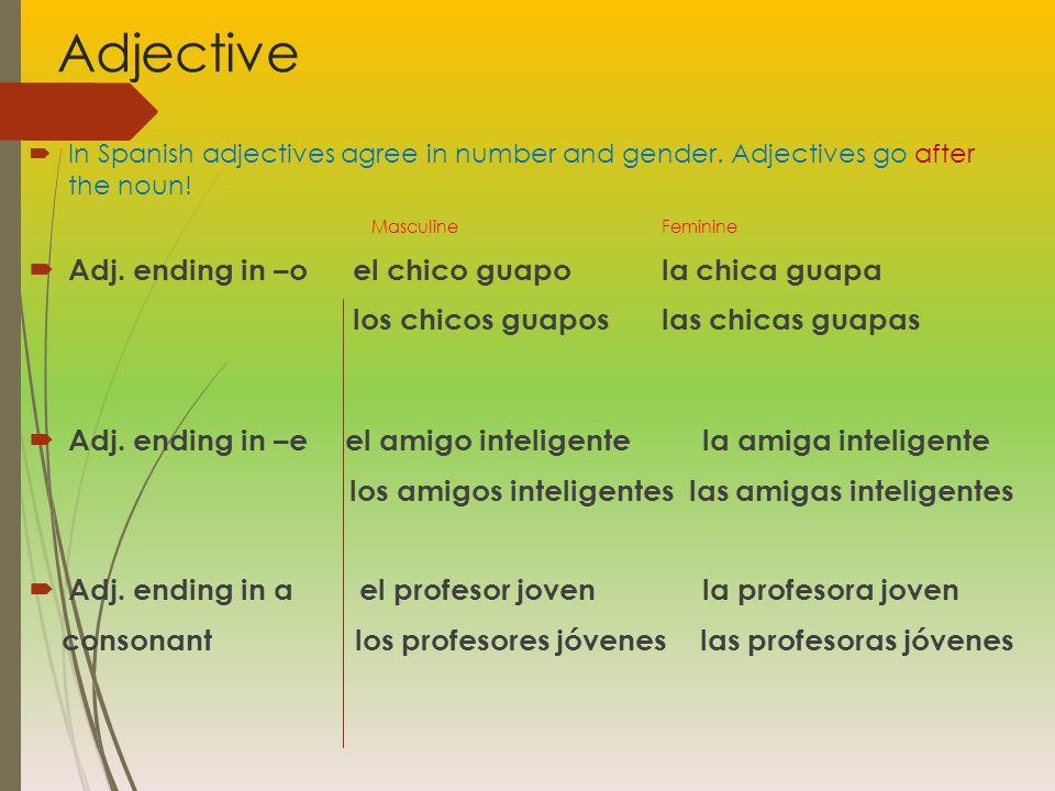 Adjective Adj. ending in –o el chico guapo la chica guapa