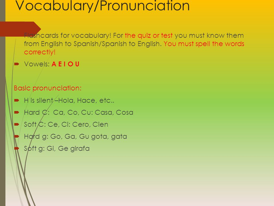 Vocabulary/Pronunciation