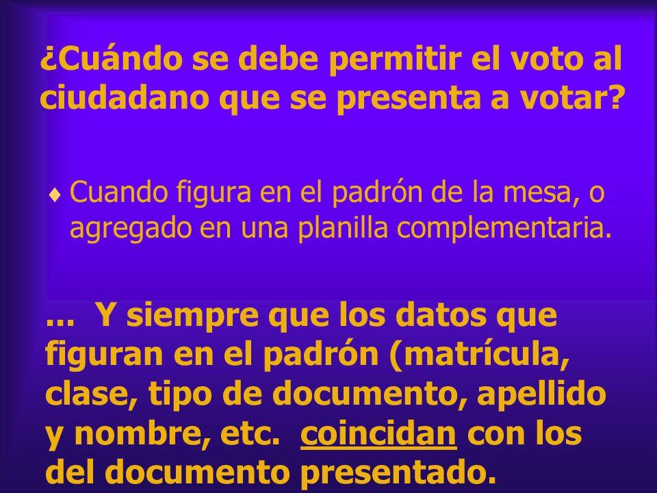 ¿Cuándo se debe permitir el voto al ciudadano que se presenta a votar