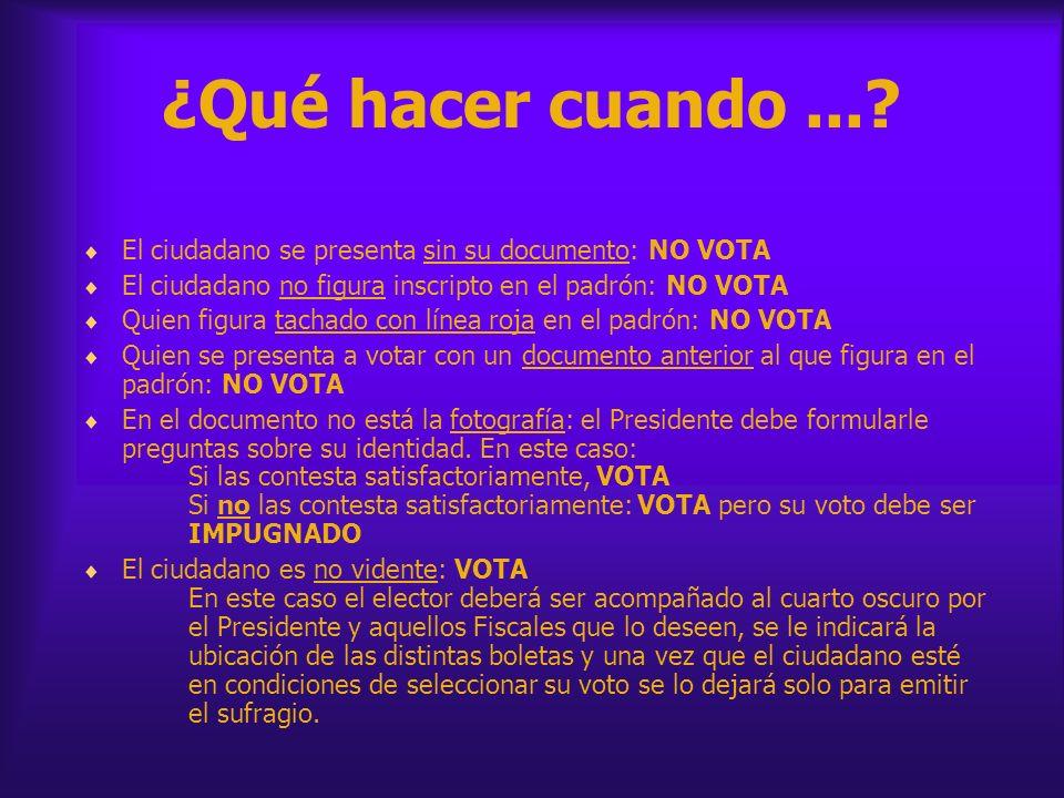 ¿Qué hacer cuando ... El ciudadano se presenta sin su documento: NO VOTA. El ciudadano no figura inscripto en el padrón: NO VOTA.