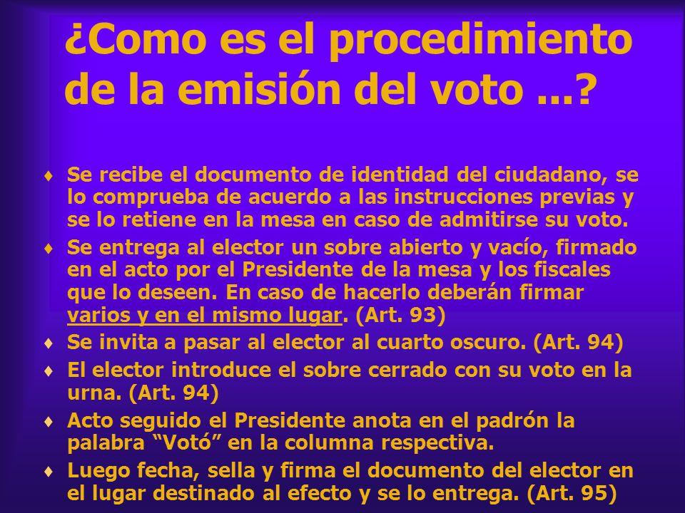 ¿Como es el procedimiento de la emisión del voto ...