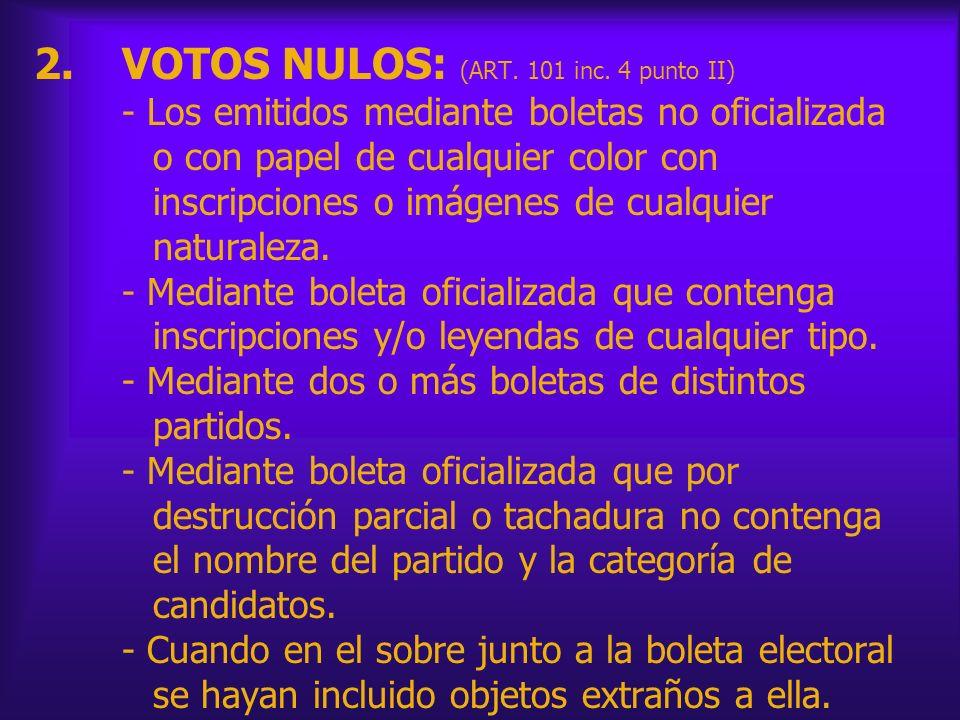 VOTOS NULOS: (ART. 101 inc.