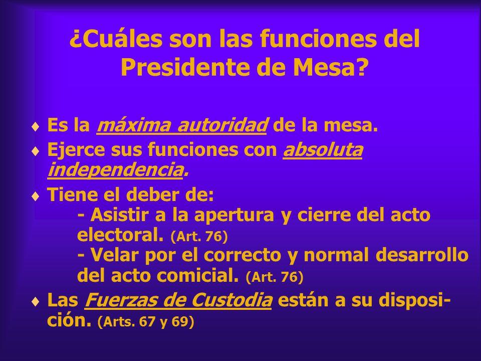 ¿Cuáles son las funciones del Presidente de Mesa
